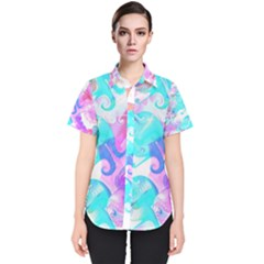 Background Art Abstract Watercolor Pattern Women s Short Sleeve Shirt