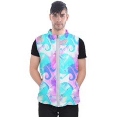 Background Art Abstract Watercolor Pattern Men s Puffer Vest