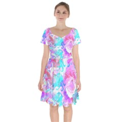 Background Art Abstract Watercolor Pattern Short Sleeve Bardot Dress