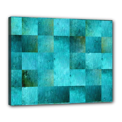 Background Squares Blue Green Canvas 20  X 16