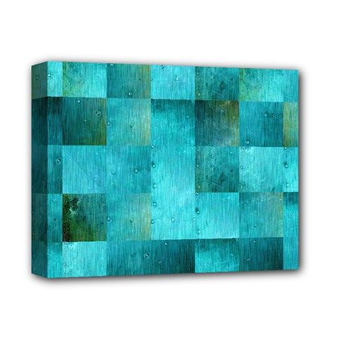 Background Squares Blue Green Deluxe Canvas 14  X 11