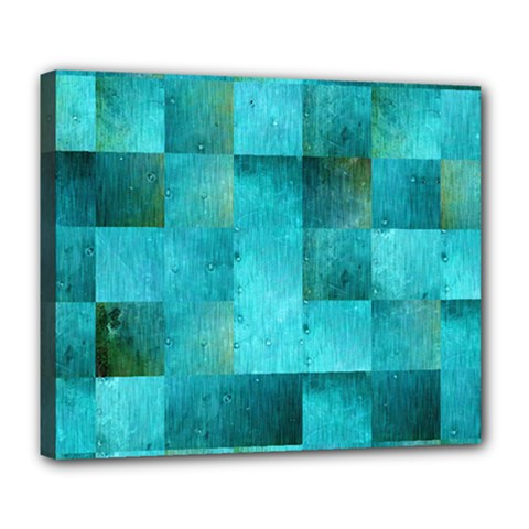 Background Squares Blue Green Deluxe Canvas 24  X 20
