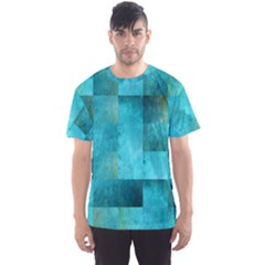 Background Squares Blue Green Men s Sports Mesh Tee