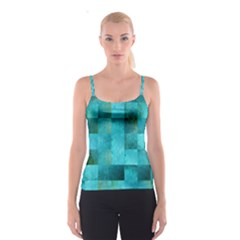 Background Squares Blue Green Spaghetti Strap Top