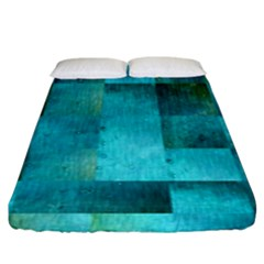 Background Squares Blue Green Fitted Sheet (king Size)