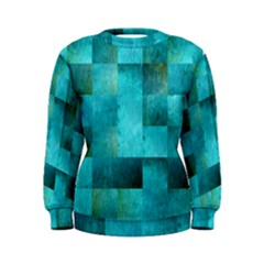 Background Squares Blue Green Women s Sweatshirt