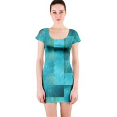 Background Squares Blue Green Short Sleeve Bodycon Dress