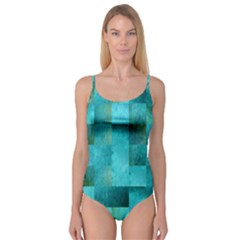 Background Squares Blue Green Camisole Leotard