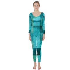 Background Squares Blue Green Long Sleeve Catsuit