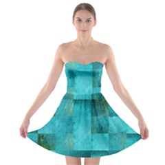 Background Squares Blue Green Strapless Bra Top Dress