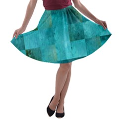 Background Squares Blue Green A Line Skater Skirt