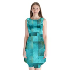 Background Squares Blue Green Sleeveless Chiffon Dress