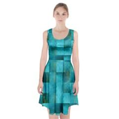 Background Squares Blue Green Racerback Midi Dress