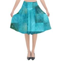 Background Squares Blue Green Flared Midi Skirt