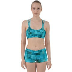 Background Squares Blue Green Women s Sports Set