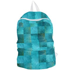 Background Squares Blue Green Foldable Lightweight Backpack by Nexatart