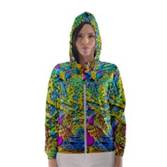 Background Art Abstract Watercolor Hooded Wind Breaker (women)