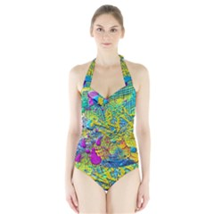 Background Art Abstract Watercolor Halter Swimsuit