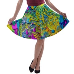 Background Art Abstract Watercolor A Line Skater Skirt