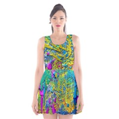 Background Art Abstract Watercolor Scoop Neck Skater Dress
