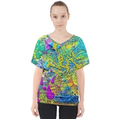Background Art Abstract Watercolor V Neck Dolman Drape Top