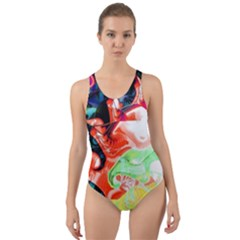 Background Art Abstract Watercolor Cut Out Back One Piece Swimsuit