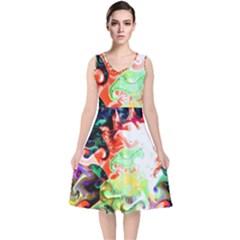 Background Art Abstract Watercolor V Neck Midi Sleeveless Dress