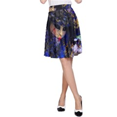 Mask Carnaval Woman Art Abstract A Line Skirt