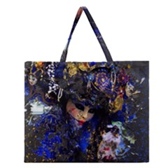 Mask Carnaval Woman Art Abstract Zipper Large Tote Bag