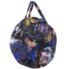 Mask Carnaval Woman Art Abstract Giant Round Zipper Tote