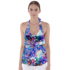 Background Art Abstract Watercolor Babydoll Tankini Top