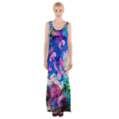 Background Art Abstract Watercolor Maxi Thigh Split Dress