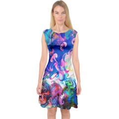 Background Art Abstract Watercolor Capsleeve Midi Dress