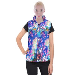 Background Art Abstract Watercolor Women s Button Up Puffer Vest