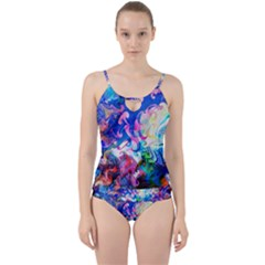 Background Art Abstract Watercolor Cut Out Top Tankini Set