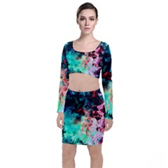 Background Art Abstract Watercolor Long Sleeve Crop Top & Bodycon Skirt Set