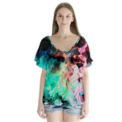 Background Art Abstract Watercolor V Neck Flutter Sleeve Top