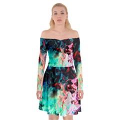 Background Art Abstract Watercolor Off Shoulder Skater Dress