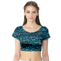 Wall Metal Steel Reflexions Short Sleeve Crop Top