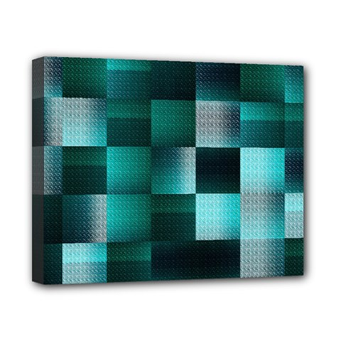 Background Squares Metal Green Canvas 10  X 8  by Nexatart