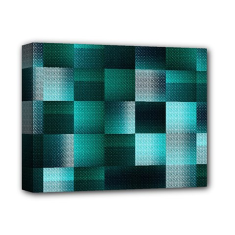 Background Squares Metal Green Deluxe Canvas 14  X 11  by Nexatart