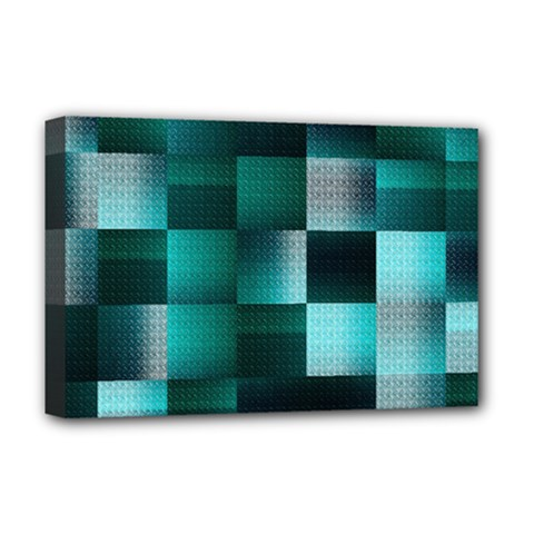 Background Squares Metal Green Deluxe Canvas 18  X 12