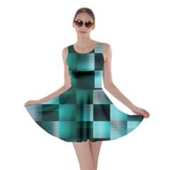 Background Squares Metal Green Skater Dress