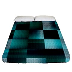 Background Squares Metal Green Fitted Sheet (queen Size)