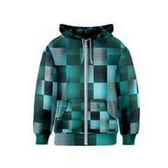 Background Squares Metal Green Kids  Zipper Hoodie