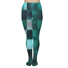Background Squares Metal Green Women s Tights