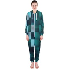 Background Squares Metal Green Hooded Jumpsuit (ladies)