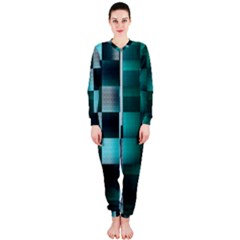 Background Squares Metal Green Onepiece Jumpsuit (ladies)