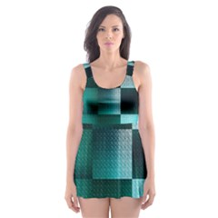 Background Squares Metal Green Skater Dress Swimsuit