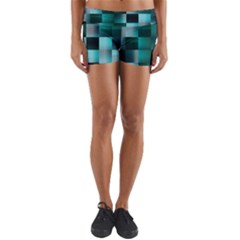 Background Squares Metal Green Yoga Shorts
